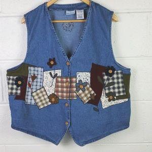 Bobbie Brooks Vintage Jean Patchwork Vest XL